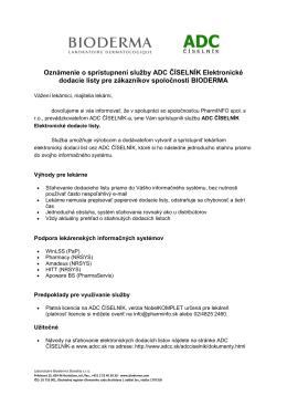 Oficiálne oznámenie ADC ČÍSELNÍK a BIODERM-a