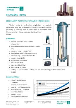 Filtračné hrnce X100 - Filter Technik Slovakia sro