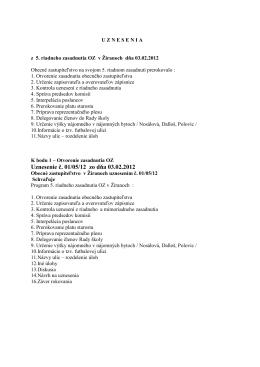 Uznesenie č. 01/05/12 zo dňa 03.02.2012