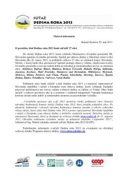 Tlačová správa k priebehu súťaže Dedina roka 2013