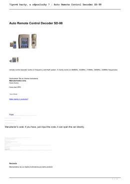 Čipové karty, a odposluchy ? : Auto Remote Control Decoder SD-98