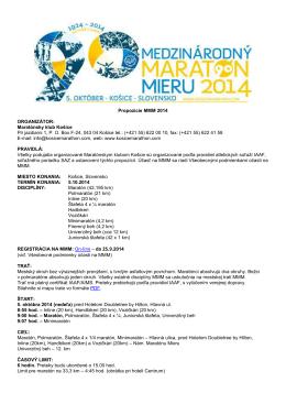 Propozície MMM 2014 ORGANIZÁTOR: Maratónsky klub