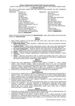 Zmluva o elektronickom zasielaní faktúr zmluvným partnerom