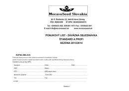 záväzná objednávka štandard a profi sezóna 2013/2014