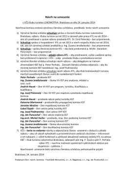 Uznesenie z výročnej členskej schôdze klubu 24.1.2014