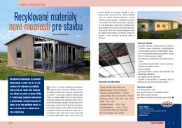 Recyklované materiály – nové možnosti pre stavbu