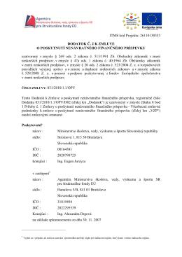 Dodatok č. 2 k zmluve o poskytnutí nenávratného finančného