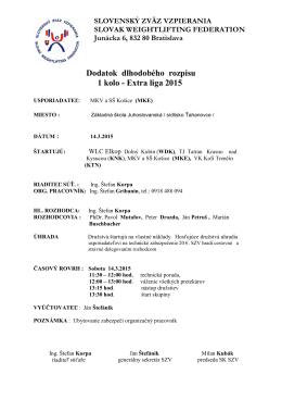 EXTRA LIGA -2015 - Slovenský zväz vzpierania