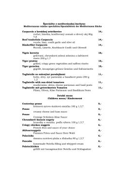 Špeciality z mediteránskej kuchyne Carpaccio z