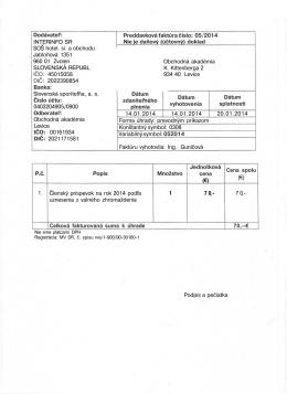 INTERINFO SR SOŠ hotel. si. a obchodu Jabloňová 1351 960 01