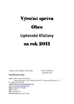 Výročná správa - Liptovské Kľačany