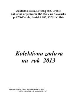 Kolektívna zmluva na rok 2013