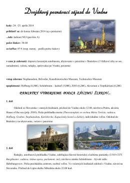 Dvojdňový poznávací zájazd do Viedne