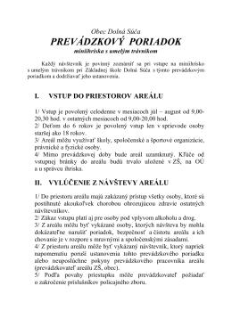 Prevádzkový poriadok (PDF)