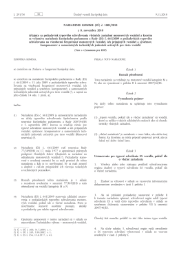Nariadenie Komisie (EÚ) č. 1005/2010 z 8. novembra 2010 týkajúce