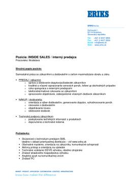 Pozícia: INSIDE SALES / interný predajca