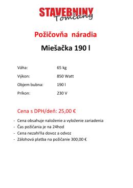 Požičovňa náradia Miešačka 190 l