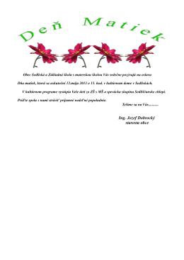 pozvánka - Obec Sedliská