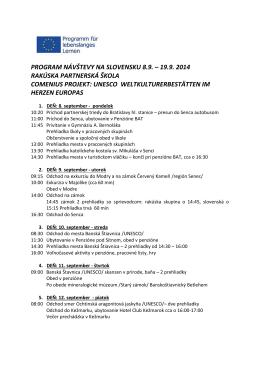 program návštevy na slovensku 8.9. – 19.9. 2014 rakúska
