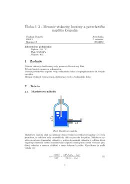 Úloha č. 3 - Meranie viskozity, hustoty a povrchového napätia kvapalin