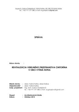 Projektová správa - Obec Vyšná Hutka