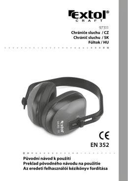 Návod Chrániče sluchu celoplastové EXTOL CRAFT