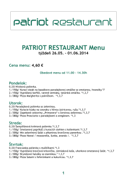 PATRIOT RESTAURANT Menu