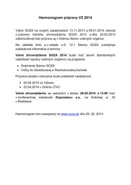Harmonogram prípravy VZ 2014