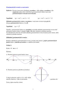 15 - Goniometrické rovnice a nerovnice