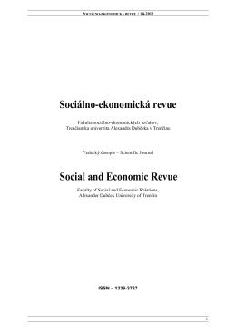Sociálno-ekonomická revue Social and Economic Revue