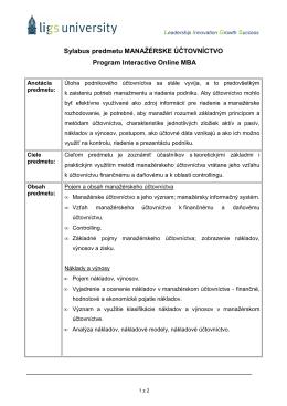 Sylabus predmetu Manažérske účtovníctvo