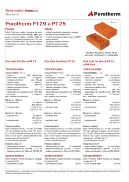 Technický list Porotherm PT 29 a PT 25 85,38KB