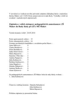 Zápisnica z volieb zástupcov pedagogických zamestnancov ZŠ
