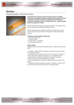 Cenník orientačných systémov Slim Slatz