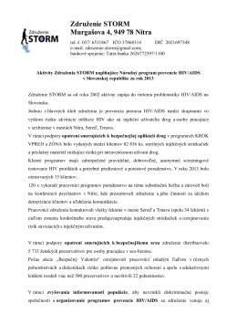 Združenie STORM Murgašova 4, 949 78 Nitra