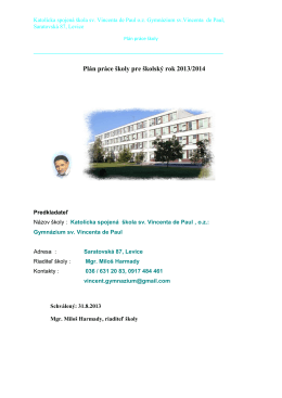 Plán práce školy pre školský rok 2013/2014