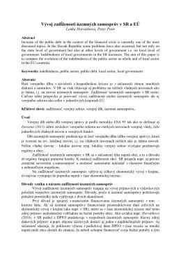 Vývoj zadĺženosti územných samospráv v SR a EÚ