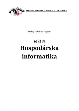 Školský vzdelávací program Hospodárska informatika