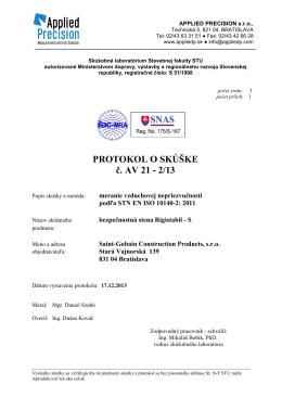 RIGIPS AV 21-2-13 akustic.protokol – bezpečnostná stena