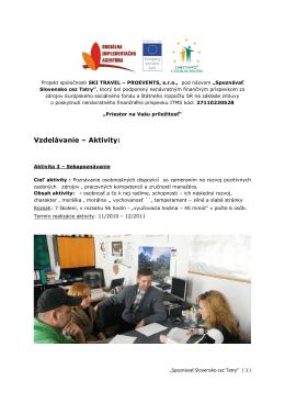 Vzdelávanie – Aktivity:
