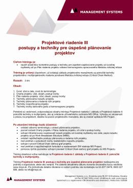 Projektové riadenie III postupy a techniky pre úspešné