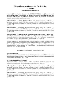 Mestská umelecká agentúra Partizánske, vyhlasuje obchodnú