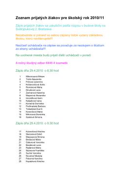Zoznam prijatých žiakov pre školský rok 2010/11