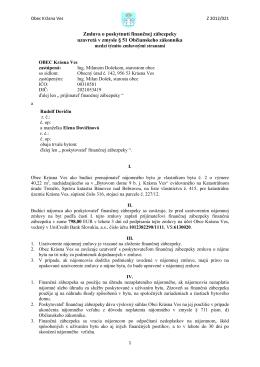 Zmluva o poskytnutí finančnej zábezpeky uzavretá v