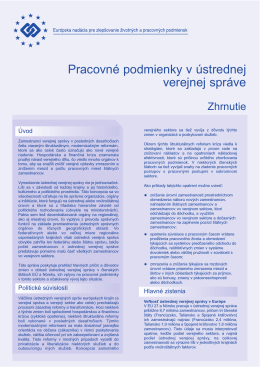 Pracovné podmienky v ústrednej verejnej správe - Eurofound