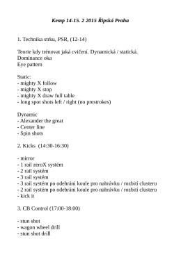 Plán kempu reprezentace – únor 2015