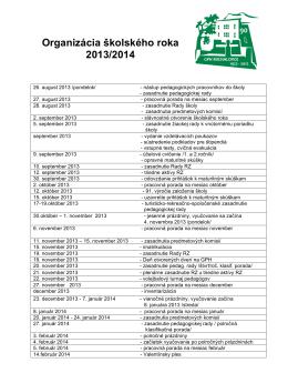 Organizácia školského roka 2013/2014