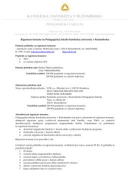 Informácie pre uchádzačov o rigorózne konania na PF KU
