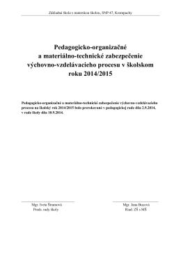 Pedagogicko-organizačné a materiálno