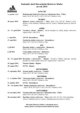 Kalendár akcií Slovenského Retriever Klubu na rok 2014